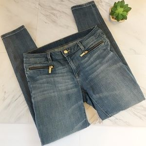 Michael Kors Izzy Skinny 6P Denim Jeans Gold Zip